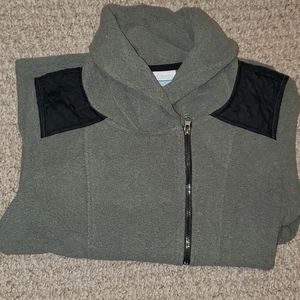 Gray pullover cowl neck with zipper